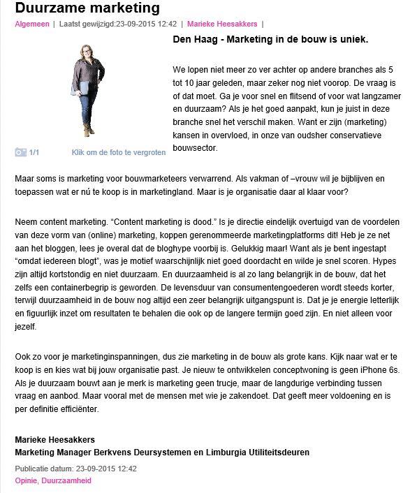 Marieke Heesakkers Cobouw Column
